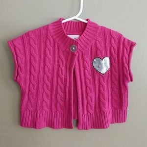 Pink Sweater Shrug with Sequin Heart